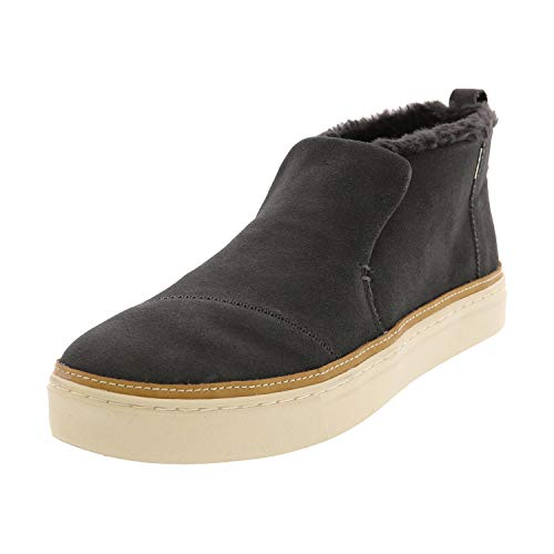 TOMS Paxton Water-Resistant Slip-Ons Forged Iron Suede/Faux Fur 9.5