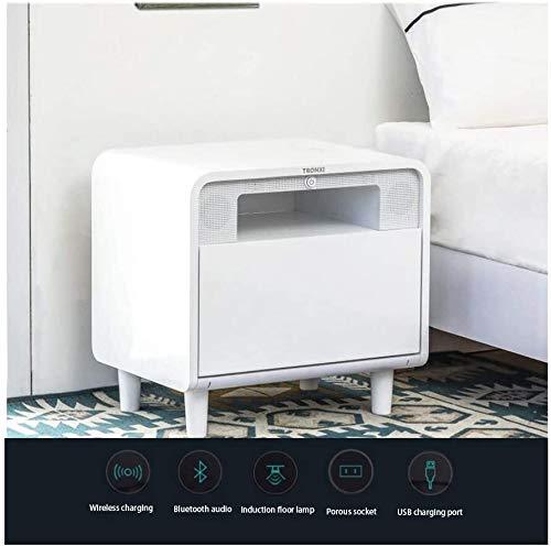 HLJ Multifunktionale intelligenter Nachttisch, mit Wireless Charging, USB-Schnittstelle, Einführungs-Licht, Bluetooth Audio, Schlafzimmer Nachtschrank