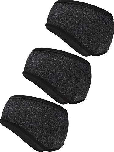 3 Pieces Ear Warmer Headbands Non Slip Sports Headbands Elastic Full Cover Ear Muffs Headbands for Outdoor Use Sports Fitness (Black)