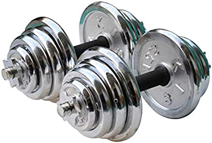 York 30 Kg Chrome Dumbbell Set, Silver