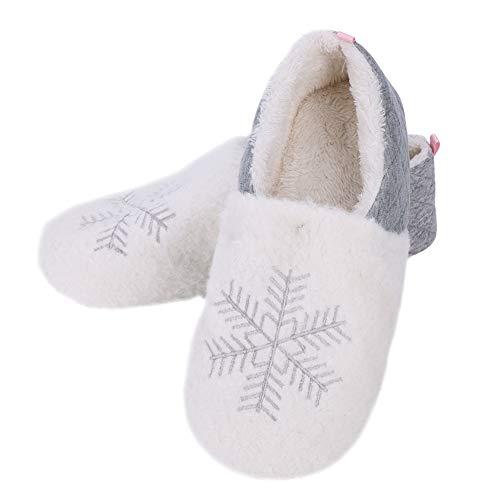 Hausballerina Damen Winterhausschuhe Schneeflocke Plüschhauschuhe Gummisohle Hausschuhe Ballerina Mädchen Pantoffeln Winter Plüschpantoffeln rutschfeste Mädchenschuhe Damenschuhe für Indoor