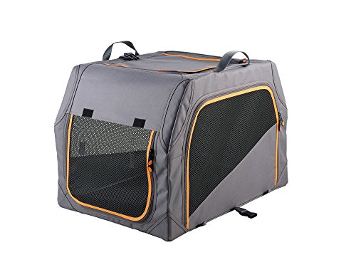 HUNTER Hundetransportbox mit Aluminium-Gestell, Autobox, zusammenklappbar, 61 x 46 x 43 cm, anthrazit/orange
