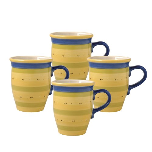 Pfaltzgraff Pistoulet Coffee Mug With Blue Handle (14-Ounce, Set of 4)