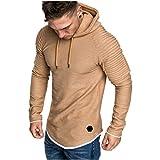 FONMA Men憇 Long Sleeve Autumn Winter Casual Sweatshirt Hoodies Top Blouse Tracksuits Khaki