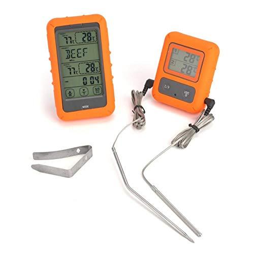 Termómetro inalámbrico portátil TS-TP20 Control remoto inalámbrico Digital Pantalla de sonda de doble aguja Termómetro digital para cocinar alimentos y carne