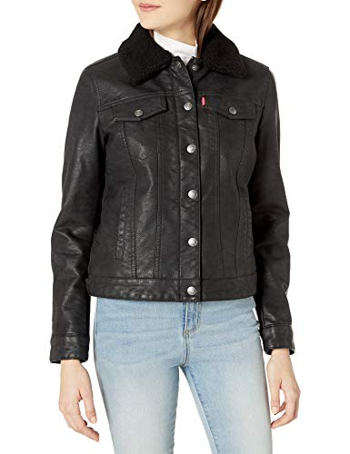 Levi's Women's Classic Sherpa Lined Faux Leather Trucker Jacket, Black, Medium