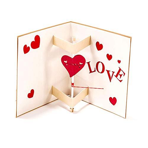 Brawdress 2020 Creative Confession Greeting Card, 3D Greeting Happy Birthday Cards Anniversary Wedding Card Postcard Gift