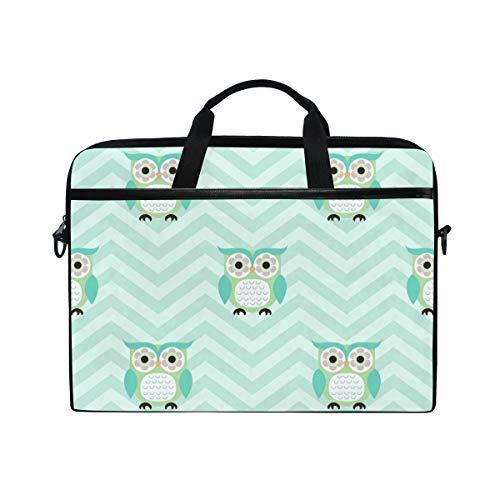 EZIOLY Cartoon Owls Laptop Shoulder Messenger Bag Case Sleeve for 13 Inch to 14 inch Laptop