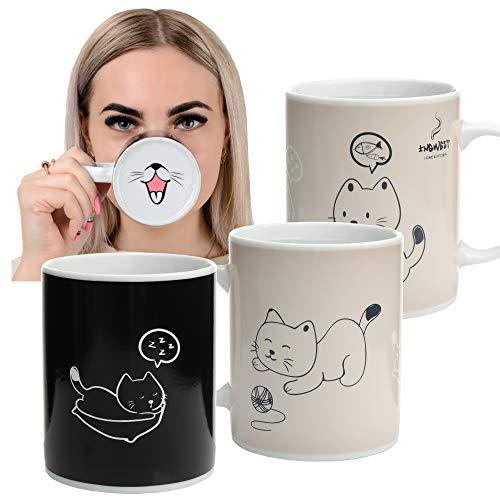 InGwest. Taza de café sensible al calor que cambia de color con diseño de gato divertido. Taza mágica muy bonita con lengua en la parte inferior