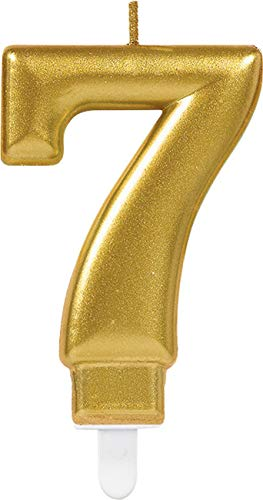 Amscan 9901779 - Zahlenkerze 7, Höhe 9,3 cm, Gold, Kuchenkerze, Geburtstag