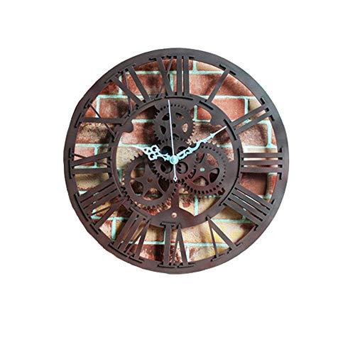 FXDGDX Gute Uhr 3D Wanduhren großen Uhr Retro ausgehöhlte alte Zahnraduhr-Wanduhr@Eisen Farbe_30cm