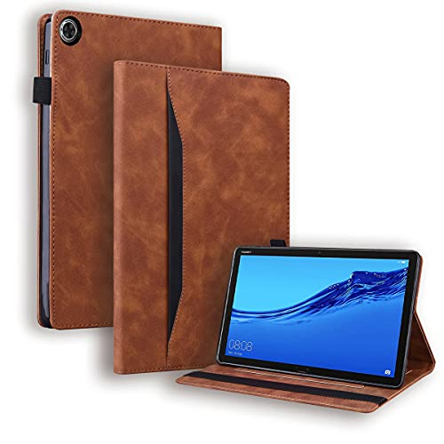 LMFULM® Hülle für Huawei MediaPad M5 Lite (8,0 Zoll) PU Lederhülle Smart Hülle mit Auto Schlaf/Wach Cover Ständer Schutzhülle Flip Cover Brieftasche Stil Braun