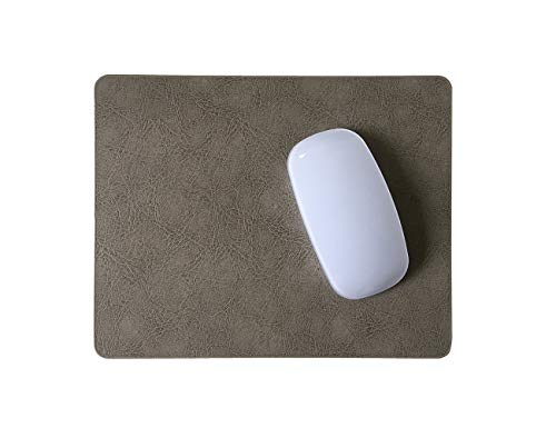 Thick Cowhide Leather Mouse Pad with Waterproof Coating, Non-Slip Suede Backing, by Pleasant Breeze (Light Gray-1 PC/Pack)