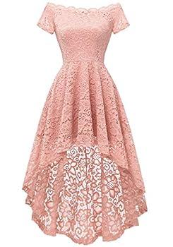 Dressystar Women s Lace Cocktail Dress Hi-Lo Off Shoulder Bridesmaid Swing Formal Party Dress 0042 Blush XL