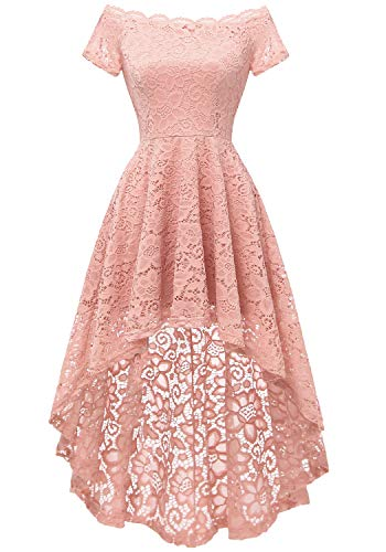 Dressystar Women's Lace Cocktail Dress Hi-Lo Off Shoulder Bridesmaid Swing Formal Party Dress 0042 Blush L