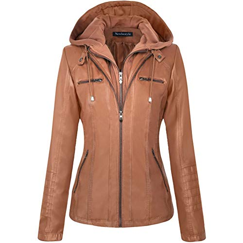 Newbestyle Womens Hooded Faux Leather Moto Biker Short Jacket Quilted Zip Up Coats Brown 2X-Large