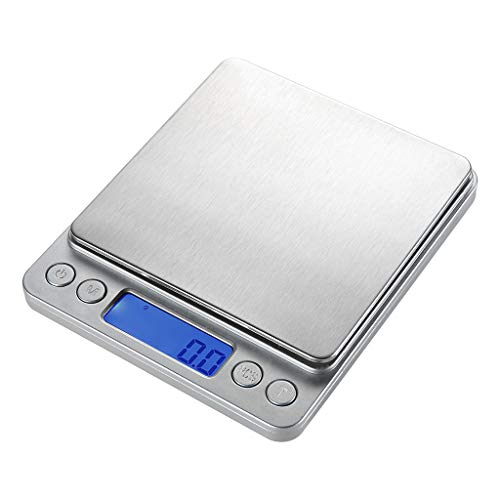 SUNUQ 6.61lb/3kg x 0.1 Gram Precision Multifunction Kitchen Cooking and Jewelry Stainless Steel Scale, Electronic Digital Balance Weight Pocket Scale 3000g for Home, Kitchen, School, Laboratory,Silver