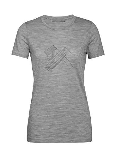 icebreaker Damen Spector SS Crewe Snap Head Merino Shirt Funktionsshirt, Metro Hthr, S