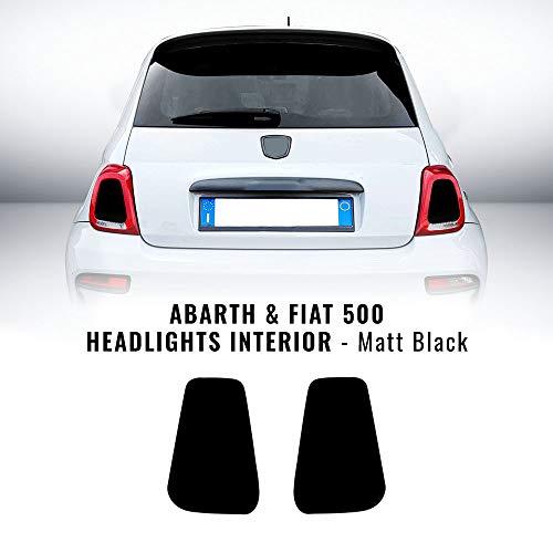 4R Quattroerre.it 17080 Adhesivos para Faros Interiores Abarth y Fiat 500, Negro...