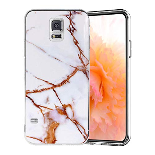 Misstars Coque en Silicone pour Galaxy S5 Marbre, Ultra Mince TPU Souple Flexible Housse Etui de Protection Anti-Choc Anti-Rayures pour Samsung Galaxy S5 / S5 Neo, Blanc Or