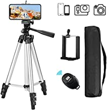 Phone Tripod with Wireless Remote, Eocean 50inch Universal Tripod for Cellphone, Gopro and Camera with Universal Phone Mount Holder, Compatible with iPhone 11 Pro Max/Galaxy Note 9/S9/Google (Silver)