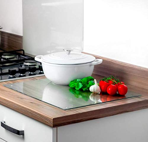 Casadomu Glass Chopping Board Clear Workspace Saver Cutting Worktop Placemat 40 x 30 cm