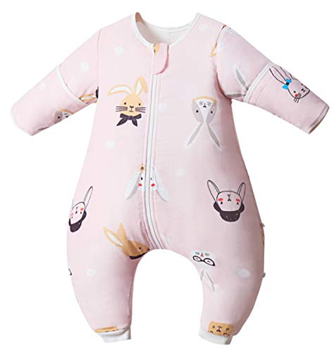 Chilsuessy Baby Ganzejahres Schlafsack mit Füßen aus 100% Bio Baumwolle 1.5 Tog Baby Sommer Schlafsack mit Beinen, Abnehmbare Ärmel Kinderschlafsack, Rosa Hase, 100/Baby Höhe 105-115cm
