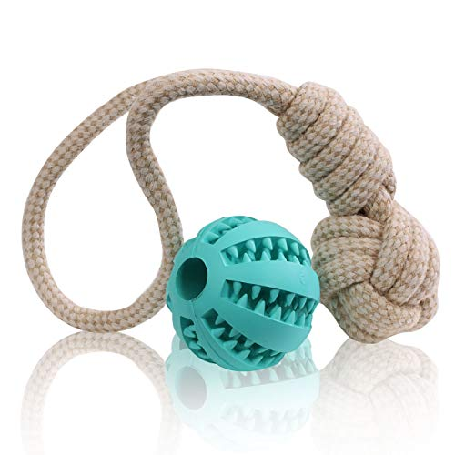 MAXX Hundespielzeug Hundeknoten Tauziehen Hund - Robust Unzerstörbar mit nach Minze duftenden Dentalball Kauball Top Hundegeschenk - Günstiges 2er Set