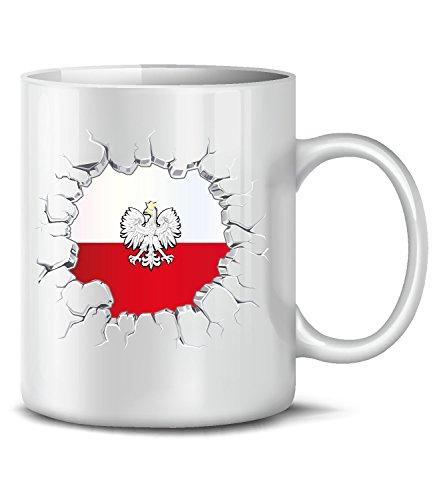 Polen Polska Poland Fan Artikel 5774 Fuss Ball Welt Europa Meisterschaft EM 2020 WM 2022 Kaffee Tasse Becher Koszulka Geschenk Ideen Fahne Weiss