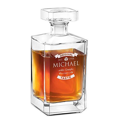 Murrano Whisky Karaffe mit Gravur - Whisky Dekanter - 700ml - Geschenk zum Geburtstag für Männer - echter Genießer