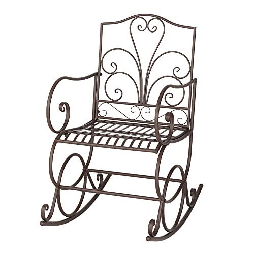 Maksoq Artisasset - Sedia a dondolo in ferro da stiro, elegante a forma di fiore