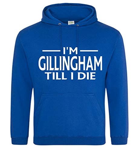 Gillingham Till I DIE Premium Mens Hoodie X-Large Blue