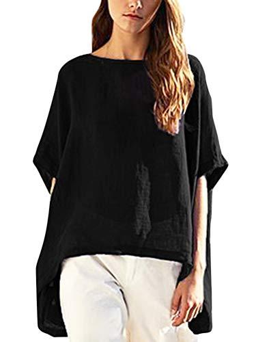 Minetom Mujeres Verano Camiseta Chic Manga Corta Lino Blusa Camisa Casual Suelto T-Shirt Color Sólido Tallas Grandes Túnica Tops Negro ES 50
