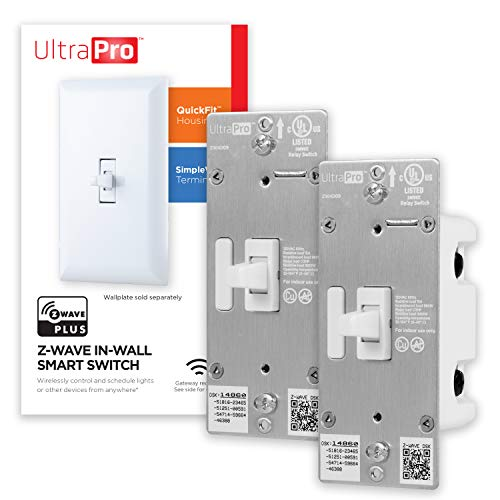 UltraPro Z-Wave Plus Smart Light Switch, in-Wall Toggle | Built-in Repeater Range Extender | ZWave Hub Required-Alexa and Google Assistant Compatible, 54912, 2 Pack, White, 2