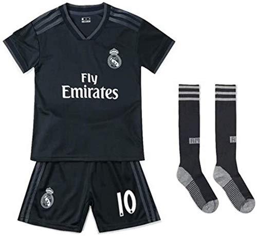 LLM Soccer Suit Kids Children's Real Madrid Away Football Soccer Jersey Set (Luka Modric 10) (Color : Black, Size : 18)