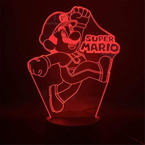 3D ilusión noche luz para niños regalo de cumpleaños Super Mario 16 color cambiante lámpara lámpara de escritorio nueva 3D LED noche luces LED táctil remoto y 16 colores cambiables