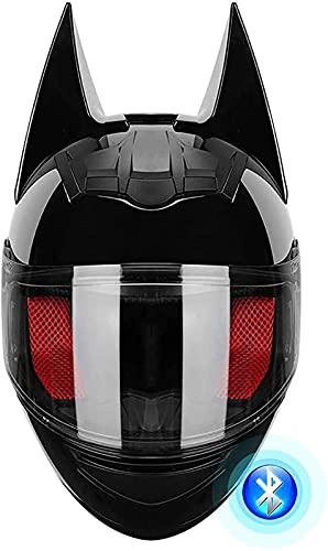 Casco Bluetooth Bat Ear Knight, Cascos Integrales De Motocicleta, Cool Cat Ears Personalidad Casco De Scooter Eléctrico De Cara Completa Certificación DOT Casco De Motocicleta De Verano Para B,M