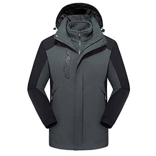 Men's Waterproof Ski Jacket Plus Size Warm Winter Snow Coat Mountain Windbreaker Hooded Raincoat Hat Detachable