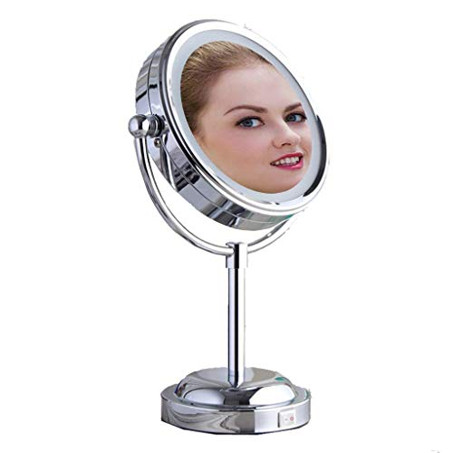 XYSQWZ Makeup Mirror Bathroom Vanity Mirrors With Lights And Magnificationchrome Tabletop Two-sided Swivel With 3x Magnification Makeup Mirror Bathroom Mirrors With Lights Makeup Mirror