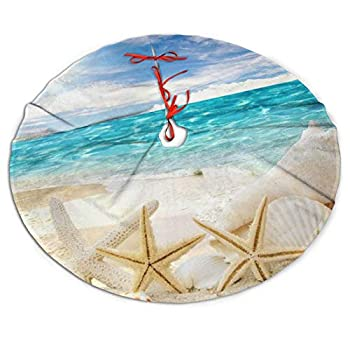 ADELBERT HENDEICKSO Beach Sand Shells White Starfish Novelty Christmas Tree Skirt 35.5  Xmas Year Plush Tree Skirt Christmas Decoration Tree Stand Mat Cover for Holiday Party Decor