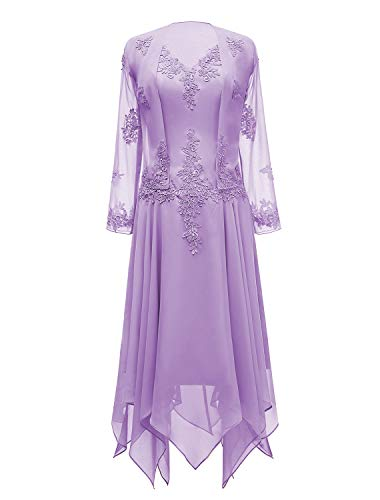 tutu.vivi V-Neck Chiffon Tea Length Mother of The Bride Dress Long Sleeves Lace Formal Evening Gowns with Jacket Lavender Size14