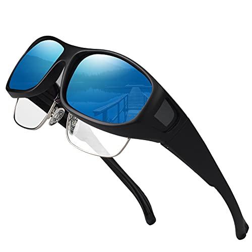 Oversized Cover Prescription Sunglasses ,Warp Around Polarized Fitover Sun Glasses for Men Women,UV Protection & Anti-glare