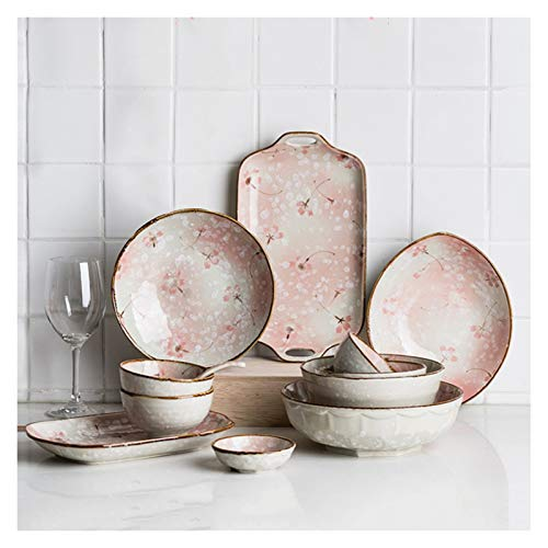 Vajilla de Plato de Cena Juego de vajillas de cerámica exquisita Sakura Conjunto de vajillas de cocina de 11 piezas, platos cucharas cucharas, servicio para 2, elegante placa de cena, rosa Platos de c