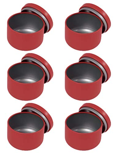 YASUOA 6 Pack Tea Can with Airtight LidsTinplate Tea Storage ContainersMini Portable BoxCandle Making Sealed Tinsfor Jewelry Coffee Bean Sugar Candy Loose Leaf Chocolate Party Favors SpicesRed