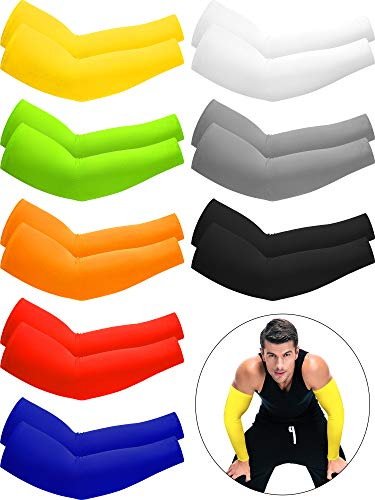 8 Pairs Unisex UV Protection Arm Cooling Sleeves Ice Silk Arm Cover (Black, White, Grey, Royal Blue, Red, Fluorescent Green, Yellow, Orange, Ice Silk)