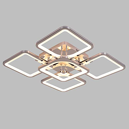 ZHIYULUX Lámpara de techo LED moderna de 80 W de metal acrílico LED de montaje empotrado Lámparas de techo para sala de estar, comedor, control remoto regulable, 3 colores