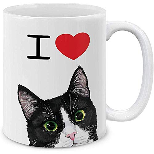 Taza de té Love Black White Tuxedo Cat Ceramic Coffee Mug Tea Cup, 330 ml