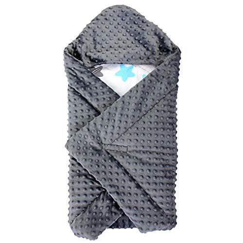 TupTam Baby Winter Einschlagdecke für Babyschale Wattiert, Farbe: Sterne Blau/Schwarz, Größe: ca. 75 x 75 cm