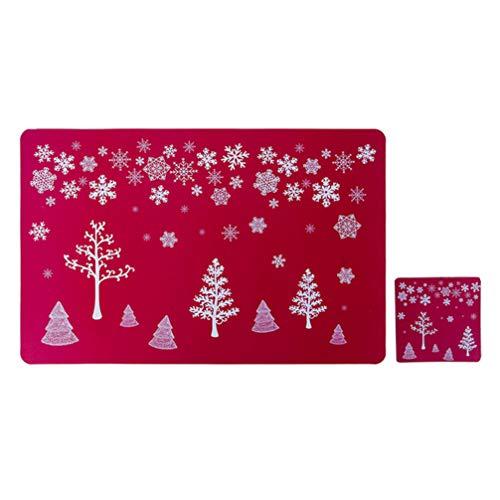 Amosfun 12pcs Dessous de Table sous-Verres Set Arbre de Noël Motif Flocon de Neige Tapis de Table Tapis résistants à la Chaleur napperons de dîner de Noël décorations de Table (Rouge)