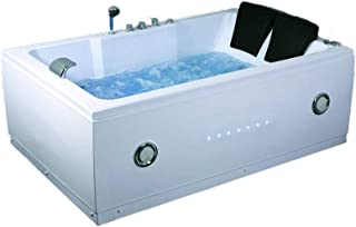 2 Two Person Indoor Whirlpool Massage Hydrotherapy White Bathtub Tub with BLUETOOTH, FREE Remote Control and Inline Water Heater